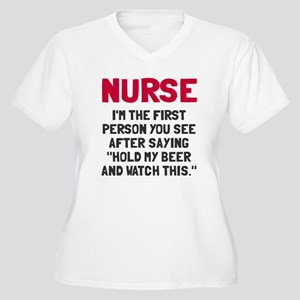 Nurse first perso Women's Plus Size V-Neck T-Shirt