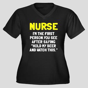 Nurse first Women's Plus Size V-Neck Dark T-Shirt