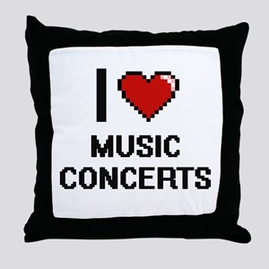 I Love Music Concerts Throw Pillow