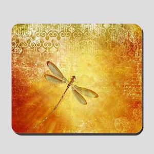 Golden dragonfly Mousepad