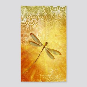 Golden dragonfly Area Rug