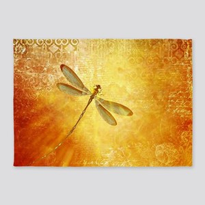Golden dragonfly 5'x7'Area Rug