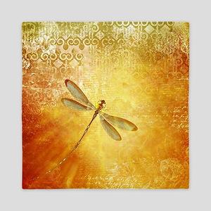 Golden dragonfly Queen Duvet