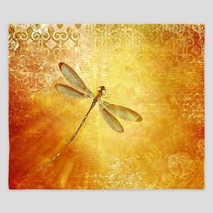Golden dragonfly King Duvet