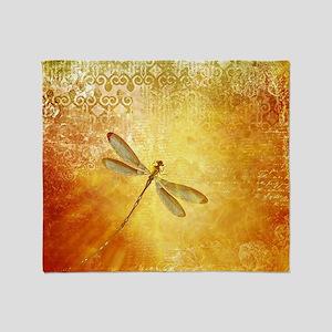 Golden dragonfly Throw Blanket