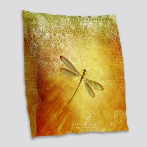 Golden dragonfly Burlap Throw Pillow