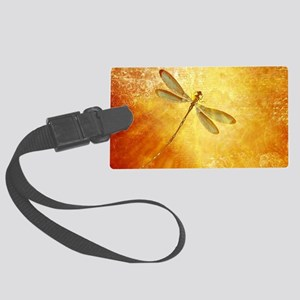 Golden dragonfly Large Luggage Tag