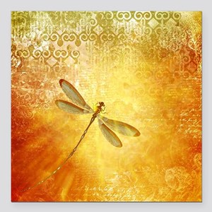 "Golden dragonfly Square Car Magnet 3"" x 3"""