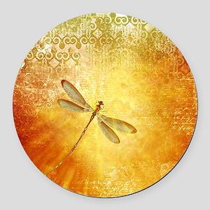 Golden dragonfly Round Car Magnet