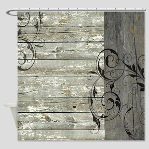 swirls primitive barn wood Shower Curtain