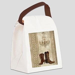 primitive western cowboy boots Canvas Lunch Bag