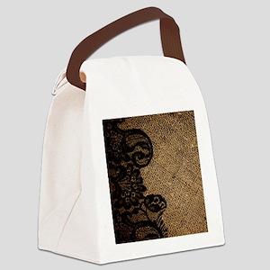 western black lace burlap Canvas Lunch Bag