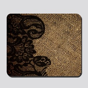 western black lace burlap Mousepad