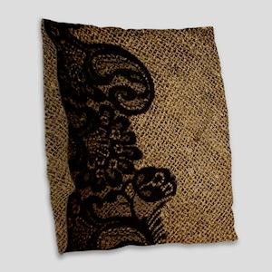 western black lace burlap Burlap Throw Pillow