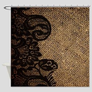 Western Black Lace Burlap Shower Curtain