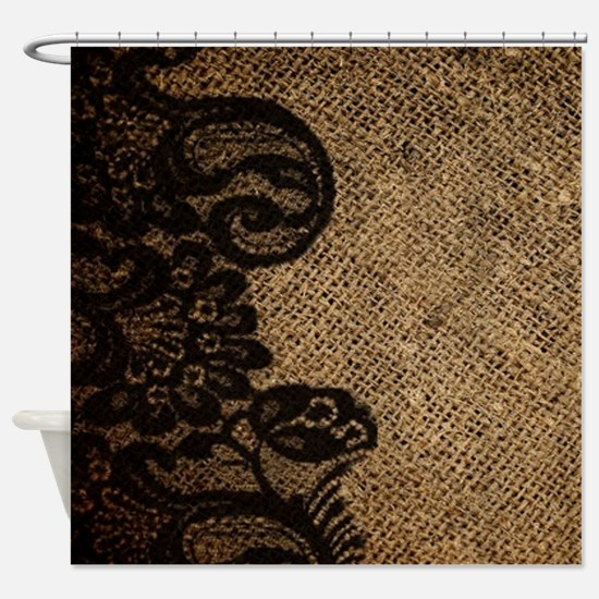 western black lace burlap Shower Curtain