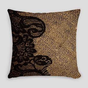 western black lace burlap Everyday Pillow