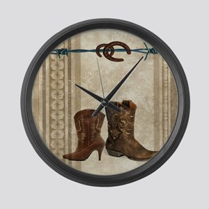 primitive western cowboy boots Large Wall Clock