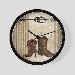 primitive western cowboy boots Wall Clock
