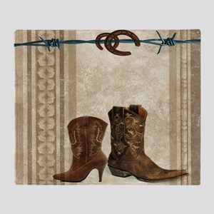 primitive western cowboy boots Throw Blanket