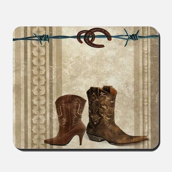 primitive western cowboy boots Mousepad