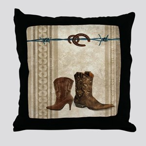 primitive western cowboy boots Throw Pillow