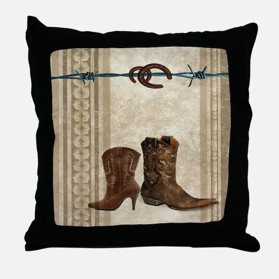 primitive western cowboy boots Throw Pillow