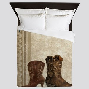 primitive western cowboy boots Queen Duvet