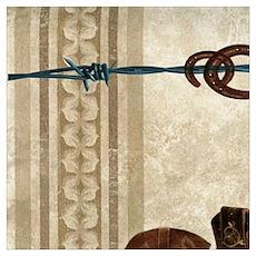 primitive western cowboy boots Poster