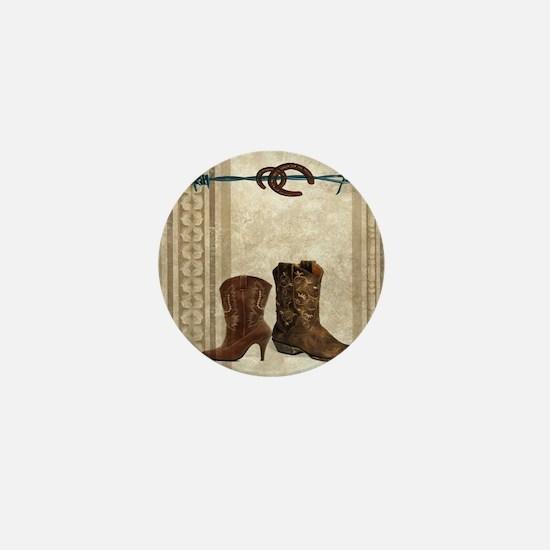 primitive western cowboy boots Mini Button