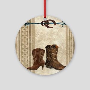 primitive western cowboy boots Round Ornament