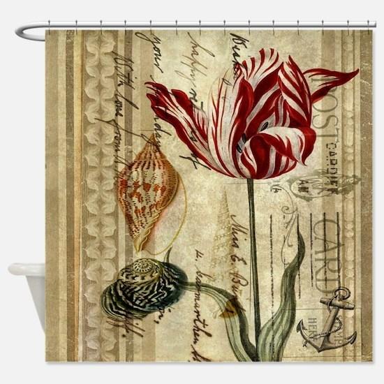 seashells tulip french botanical  Shower Curtain