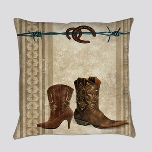 primitive western cowboy boots Everyday Pillow