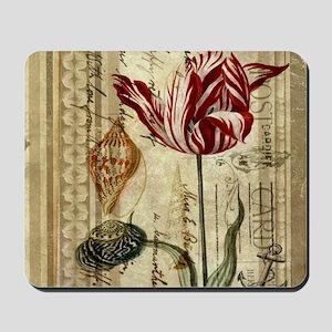 seashells tulip french botanical  Mousepad