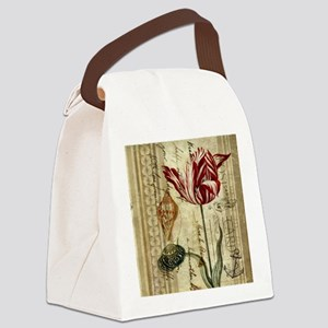 seashells tulip french botanical  Canvas Lunch Bag