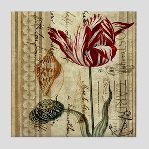 seashells tulip french botanical  Tile Coaster