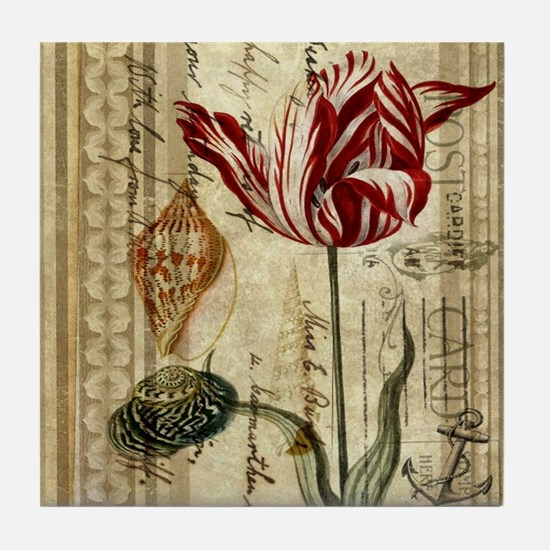 seashells tulip french botanical  Tile Coaster
