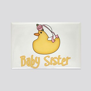 Yellow Duck Baby Sister Rectangle Magnet