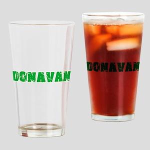 Donavan Name Weathered Green Design Drinking Glass