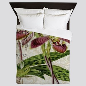 vintage french botanical orchid Queen Duvet