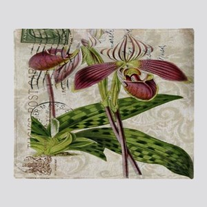vintage french botanical orchid Throw Blanket