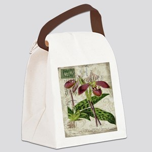 vintage french botanical orchid Canvas Lunch Bag
