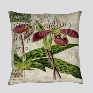 vintage french botanical orchid Everyday Pillow