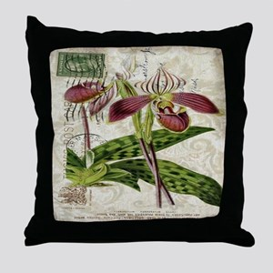 vintage french botanical orchid Throw Pillow