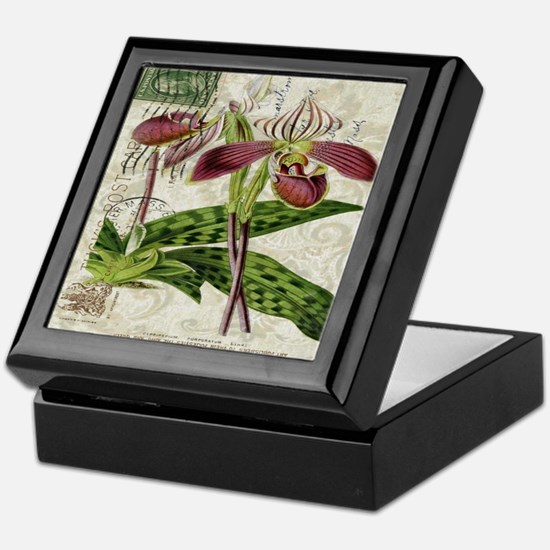 vintage french botanical orchid Keepsake Box