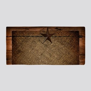 burlap barn wood texas star  Beach Towel