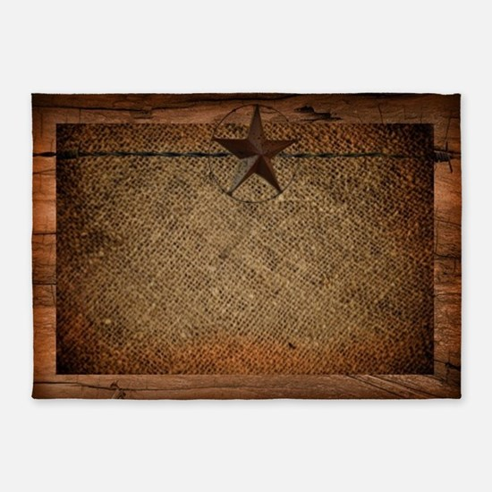 burlap barn wood texas star  5'x7'Area Rug