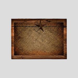 burlap barn wood texas star  5'x7'Area Rug