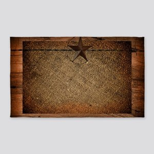 burlap barn wood texas star  Area Rug