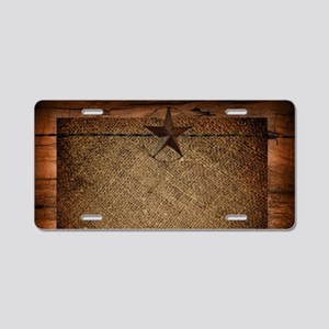 burlap barn wood texas star Aluminum License Plate